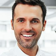man smiling with white smile